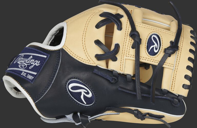 PROSNP4-2CN 11.5-inch Pro Preferred infield glove with a navy/camel thumb and camel I web