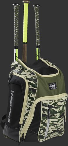 Front angle view of a Rawlings Legion bag with 3 bats in the back - SKU: LEGION-CAMO
