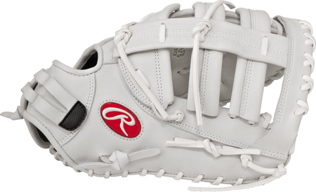 Thumb view of a white RLAFB Liberty Advanced 13-inch fastpitch first base mitt with a white Modified H web