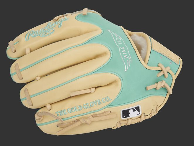 Camel back of a Pro Preferred Wing Tip glove with the MLB logo on the pinkie - SKU: PROS205W-30CM