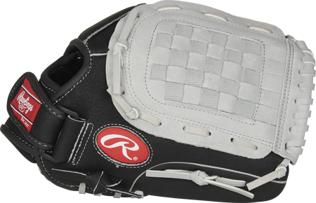 Thumb of a black SC115BGB Sure Catch 11.5-inch youth infield/outfield glove with a grey Basket web