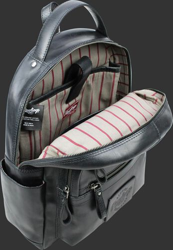 Inside of a black RS10057-BLK medium sized Rugged leather backpack with a internal laptop section and pinstripe material