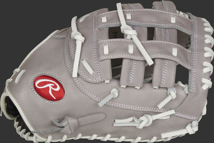 Gray thumb of a 2021 R9 Series 12.5-Inch fastpitch 1st base mitt with a gray Modified H-web - SKU: R9SBFBM-17G