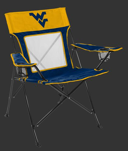 Front of Rawlings Blue and Yellow NCAA West Virginia Mountaineers Game Changer Chair With Team Logo SKU #00643114111