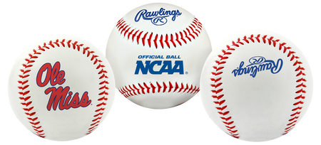 3 views of a NCAA Ole Miss Rebels baseball with a team logo, NCAA logo and Rawlings logo