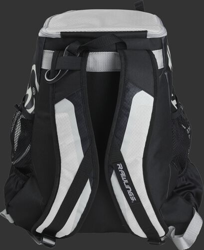 Back of black/white R500 Players team backpack with black/white shoulder straps