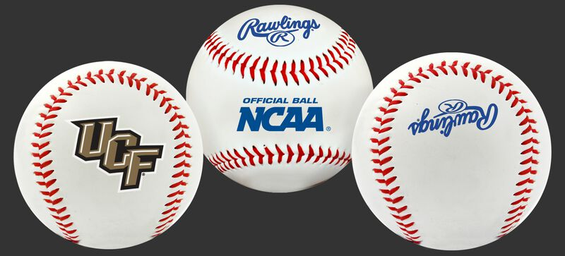 3 views of a NCAA UCF Knights baseball with a team logo, NCAA logo and Rawlings logo