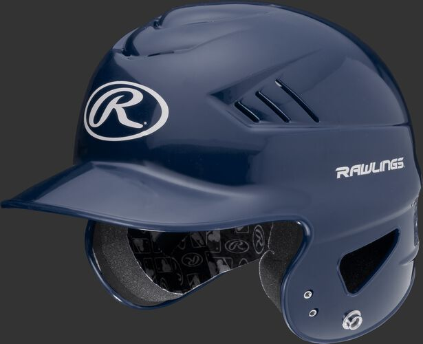 A navy RCFTB Coolflo T-ball batting helmet with a white Oval R logo
