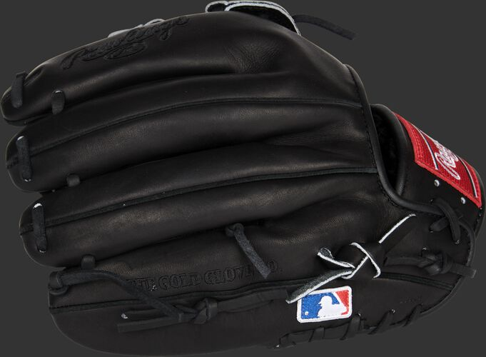 Black back of a Rawlings Heart of the Hide 12-inch glove with the MLB logo on the pinky - SKU: PRO10006JBPRO