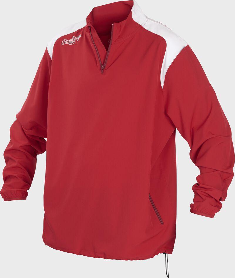 Front of Rawlings Scarlet Adult Long Sleeve Quarter-Zip Jacket - SKU #FORCEJ-B-88
