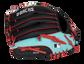 Back of a black/teal Arizona Diamondbacks youth glove with the MLB logo on the pinky - SKU: 22000010111 image number null