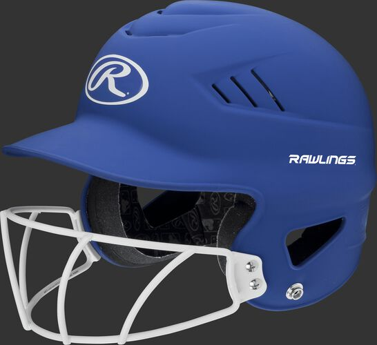 A royal RCFHLFG Coolflo batting helmet with a white facemask
