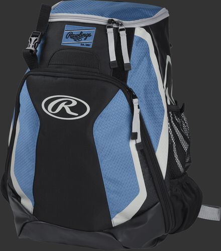 Left side of a black/columbia blue R500 Players team backpack with white trim