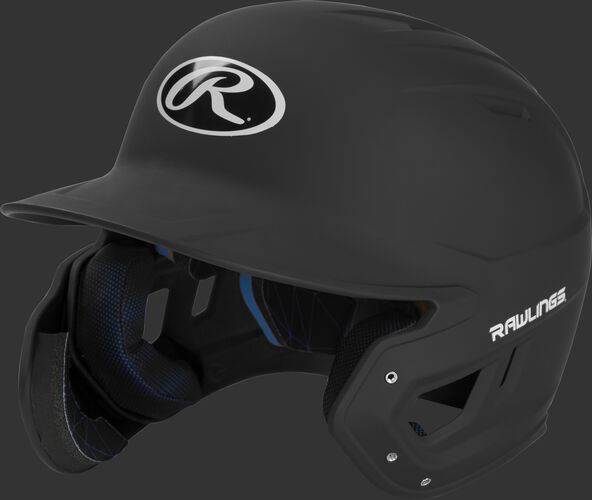Left angle view of a MACHEXTL Rawlings Mach EXT Junior helmet with a one-tone matte black shell