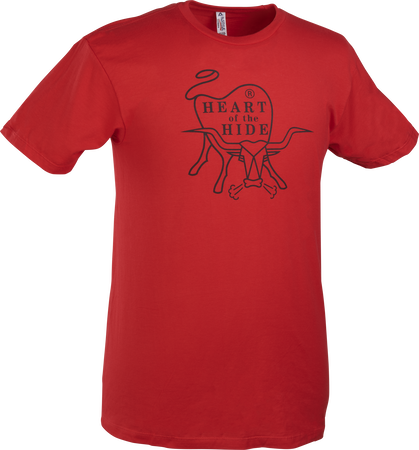 A scarlet Rawlings Heart of the Hide short sleeve shirt with the HOH logo printed in black