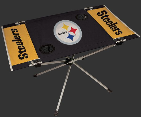 Rawlings Yellow and Black NFL Pittsburgh Steelers Endzone Table With Two Cup Holders, Team Logo, and Team Name SKU #03391082111