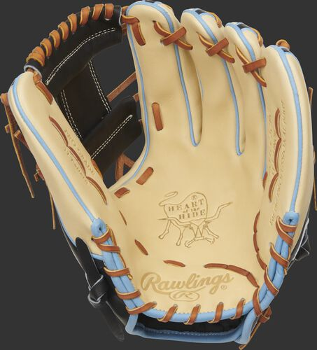 Camel palm of a 2021 Rawlings HOH infield glove with a black web and tan laces - SKU: PRO315-2CBC
