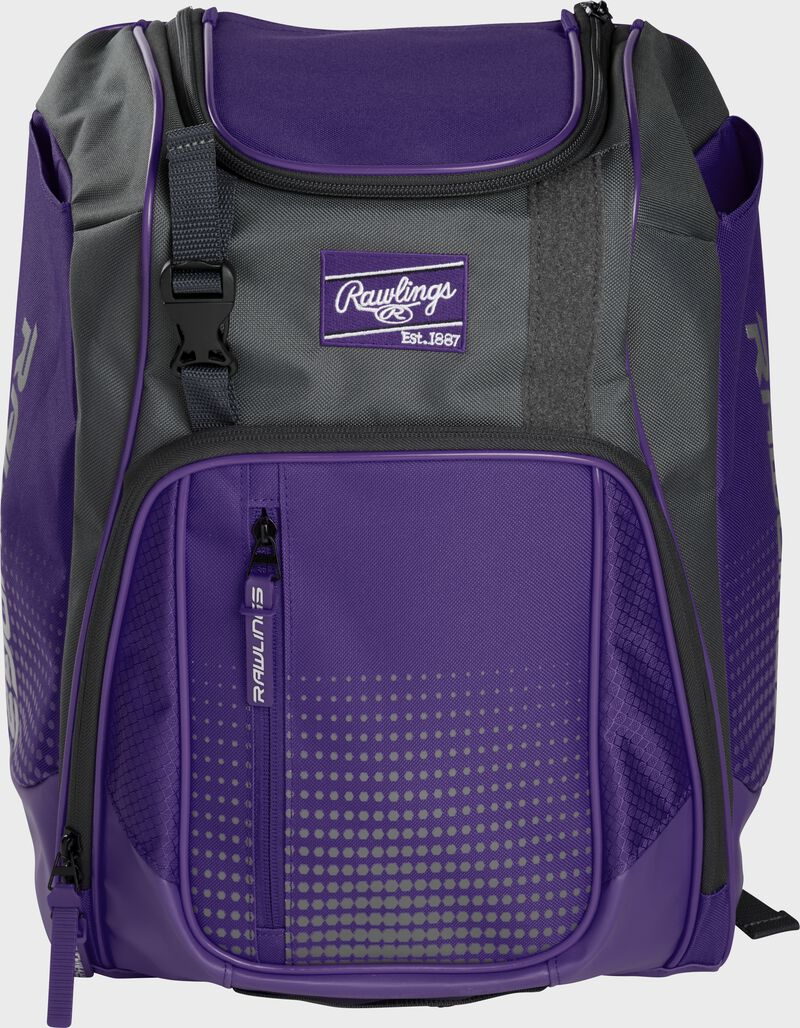 Front of a purple Franchise baseball backpack with gray accents and a purple Rawlings patch - SKU: FRANBP-PU