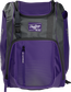 Front of a purple Franchise baseball backpack with gray accents and a purple Rawlings patch - SKU: FRANBP-PU image number null