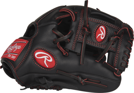 R9YPT2-2B R9 Series 11.25-inch youth infield glove with a black thumb and black I web