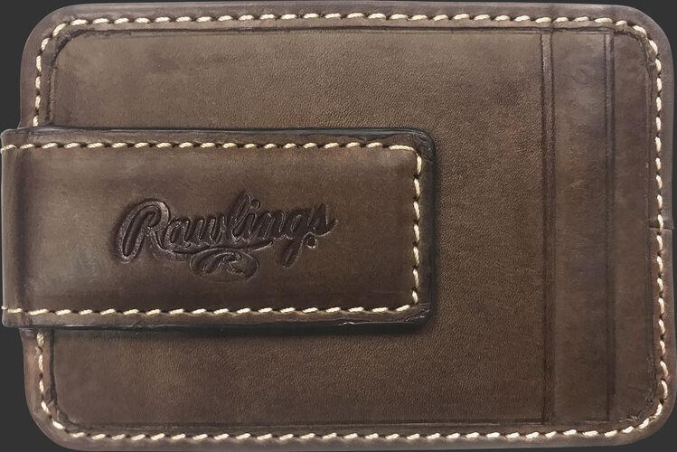 An embossed Rawlings logo on the clip of a brown MW494-201 leather money clip with two additional credit card slots
