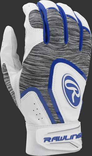 A white 5150WBG-R youth 5150 batting glove with a heather grey back and royal trim