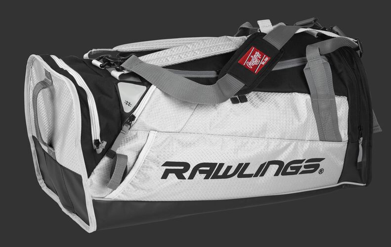 Side angle view of a white R601 Hybrid players bag with a Rawlings logo on the side