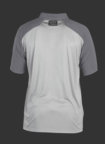 Back of a gray ColorSync polo with dark gray sleeves and a black Rawlings patch on the back neckline - SKU: CSP-BG/GR