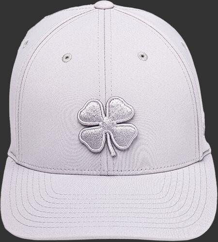 Front of a Rawlings Black Clover Platinum hat with a platinum clover leaf logo - SKU: BCR1P0071