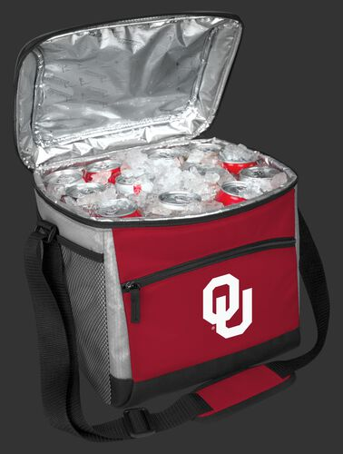 An open Oklahoma Sooners 24 can cooler filled with ice and drinks - SKU: 10223045111