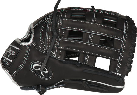 Thumb of a black PRO3039-6BPCF Rawlings 12.75-inch Hyper Shell outfield glove with a black H-web