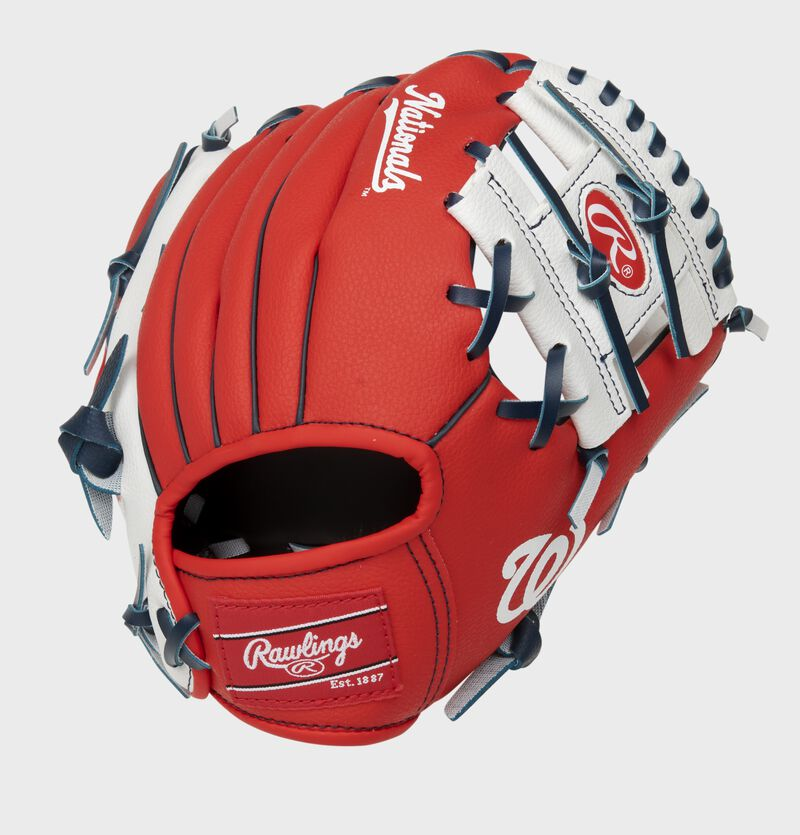 Back of a red/white Washington Nationals 10-inch youth I-web glove with a red Rawlings patch - SKU: 22000031111