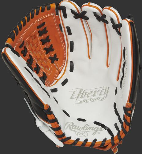 RLA125-18OB Rawlings Liberty Advanced Color Series glove with a white palm and black laces