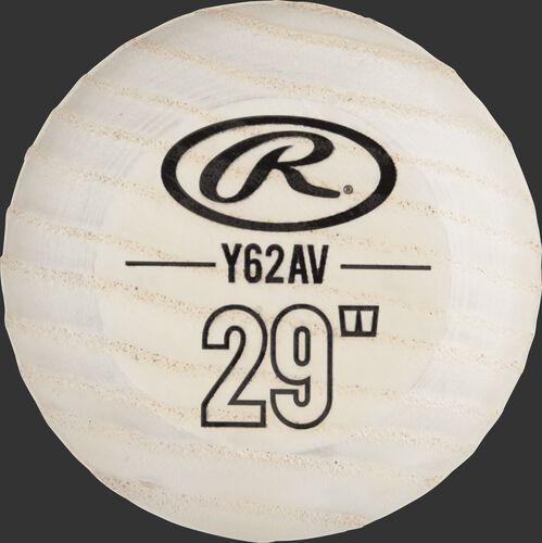 White knob of a Y62AV Rawlings youth ash wood bat
