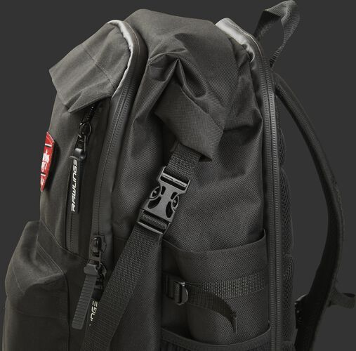 Left side of a black Rawlings coach's backpack with the clip on the side - SKU: CEOBP-B