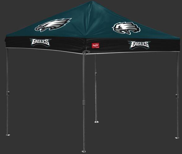 A green/black NFL Philadelphia Eagles 10x10 canopy with team logos on each side - SKU: 02231080111