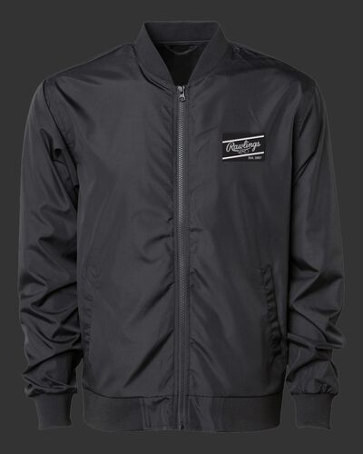 A black Rawlings lightweight bomber jacket with a black/silver Rawlings patch logo on the chest - SKU: RSGBJ-B