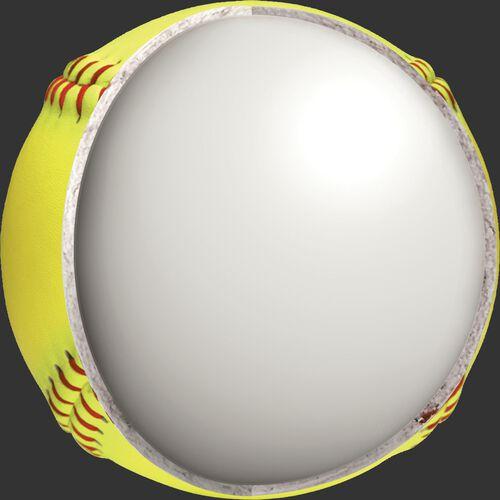 Center cork view of a Rawlings USA RIF 10 softball - SKU: R11RYSA