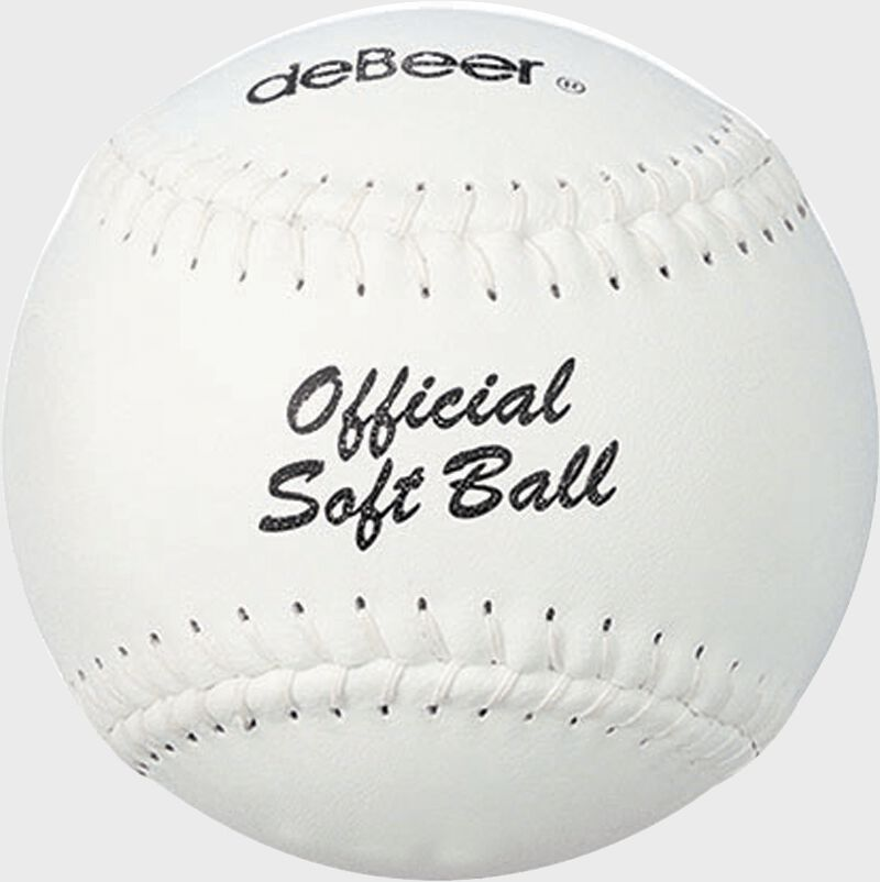A white W10403 deBEER 14-inch softball with white stitching