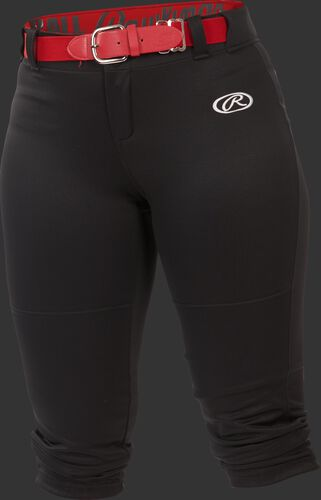 Front of Rawlings Black Girls' Low-Rise Softball Pant - SKU #YLNCHG