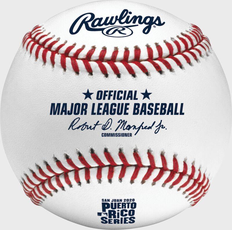 A 2020 MLB Puerto Rico Series baseball with the Official Major League Baseball stamp - SKU: ROMLBPRS20