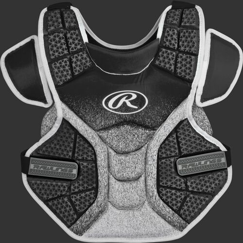 Front of a black/white SBCPV Velo adult softball chest protector