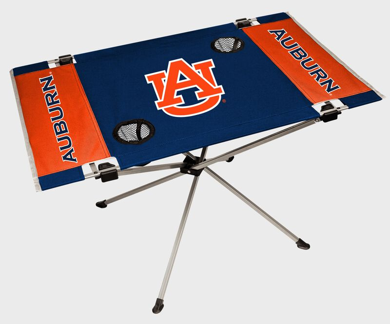 An Auburn Tigers endzone table with a large team logo in the middle