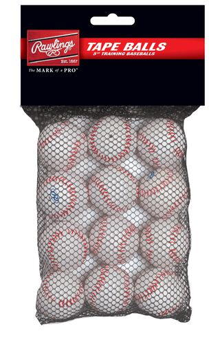 Rawlings White Pack of 5 in Tape Training Balls SKU #TAPEBALL12