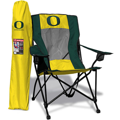 Front of Rawlings Yellow and Green NCAA Oregon Ducks High Back Chair With Team Logo SKU #09403095518