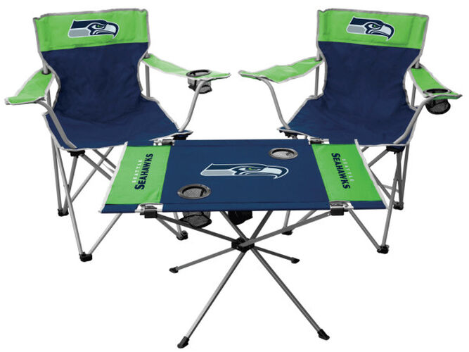Front of Rawlings Bright Green and Blue NFL Seattle Seahawks 3-Piece Tailgate Kit With Two Kickoff Chairs, An Endzone Table, And A Transport Bag With Team Logo SKU #01041085511