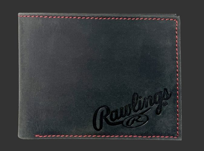A black High Grade debossed bi-fold wallet with the Rawlings logo debossed in the bottom right corner - SKU: RPW004-001