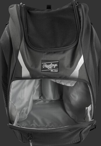 A gray Legion gear backpack with the main compartment open - SKU: LEGION-GR