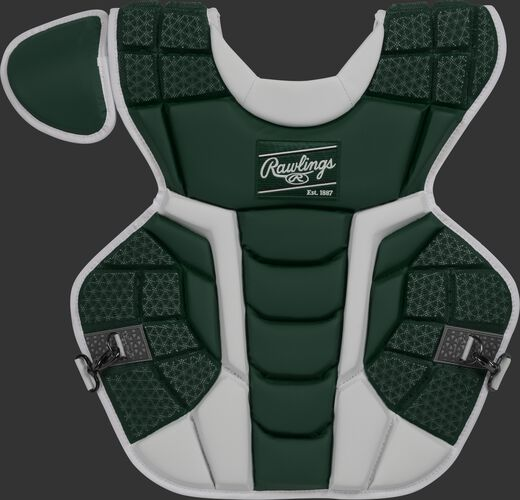 Front of a dark green CPMCN Rawlings Mach chest protector with Arc Reactor Core