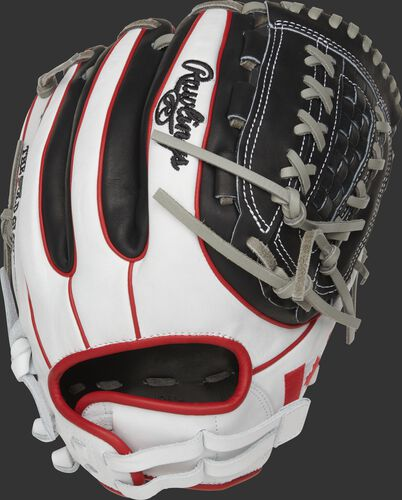 Back of a white/black PRO716SB-18CAN Heart of the Hide 12-Inch Canada softball glove with scarlet double-welting